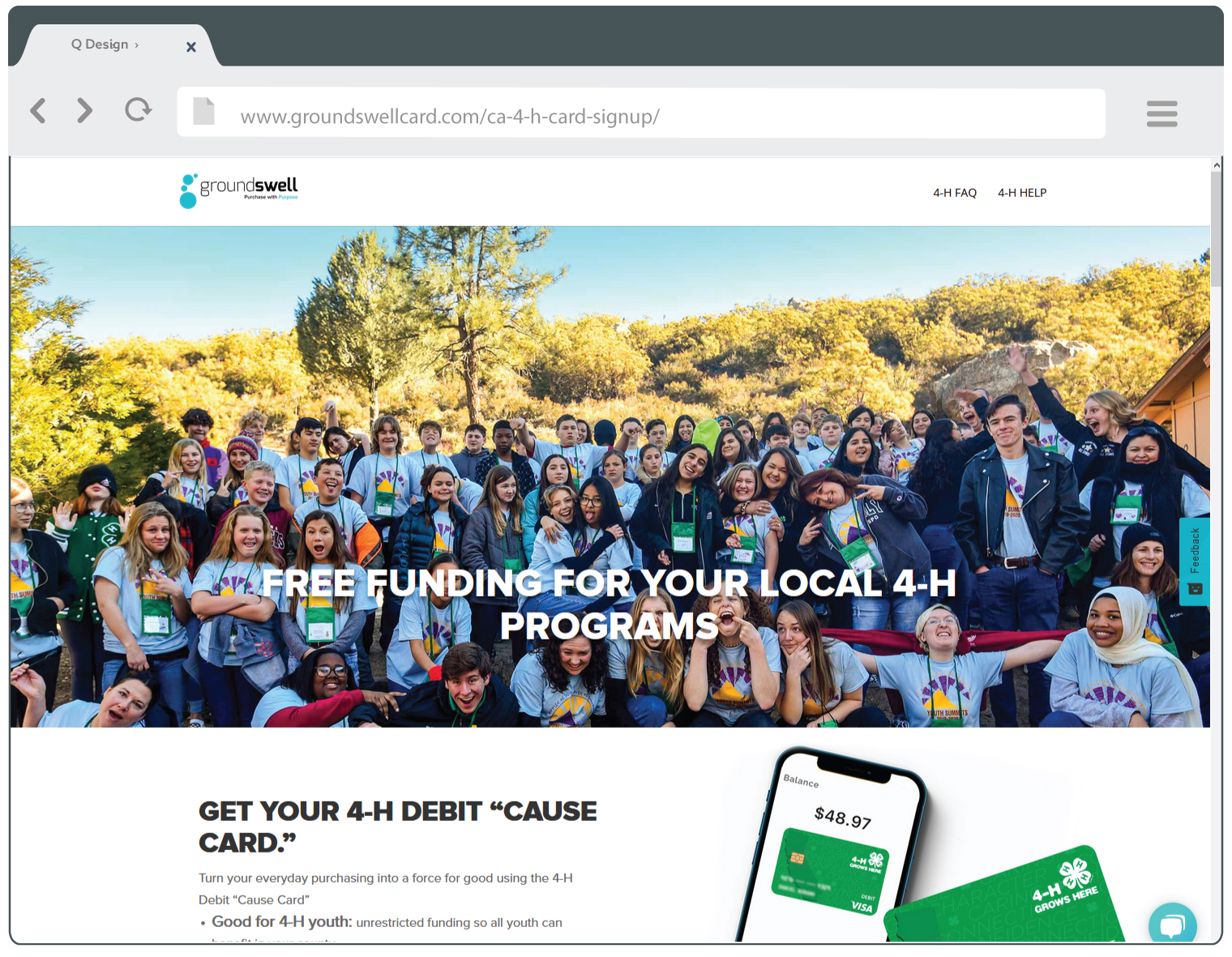Groundswell card CA 4-H signup landing site sample